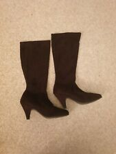 Atmosphere Brown Boots Calf Length Heeled Ladies Size 5