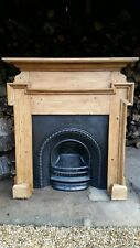 ORIGINAL VICTORIAN CAST IRON ARCHED  INSERT AND  PINE WAXED FIREPLACE SURROUND