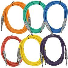 """SEISMIC AUDIO New 6 PACK Colored 1/4"""" TS 6' Patch Cables - Guitar - Instrument"""