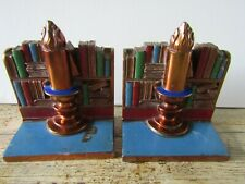 More details for vintage ronson all metal art wares book ends bookends volumes & candle a/f