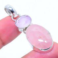 "Rose Quartz Gemstone Handmade 925 Silver Jewelry Pendant 1.97"" AL-8552"