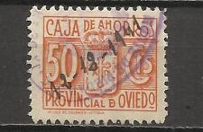 7245-SELLO FISCAL LOCAL CORPORATIVO 1939-42.CAJA AHORROS  OVIEDO,ASTURIAS.