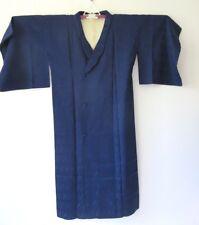 JAPANESE HANDMADE VINTAGE NAVY BLUE SILK KIMONO COAT / MICHIYUKI