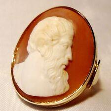 Ein großer alter Gemme Ring 585 Gold Kamee Cameo Muschelgemme / CD 227