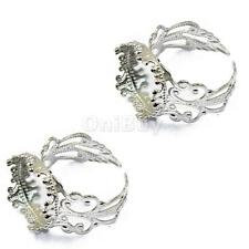 2pcs/Lot Adjustable Filigree Ring Base Blank Settings 15mm Base Pad Findings