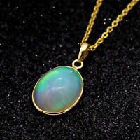 Natural Opal Oval Cabochon Pendant 18kt Yellow Gold Necklace With Free Chain