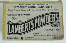 Lambert's Medicine Powders, Stanley Drug Co. Minneapolis, MN. Full Package