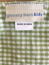 Pottery Barn Kids Green Gingham Fabric Basket Liner, Drawstring, 15 x 15 x 12