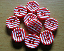 10 x Red & White Striped 4-Hole Resin Buttons 12mm Wide (FF13C)