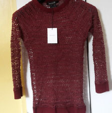 £210 Isabel Marant Hole Knit Top. Wine Red. Small. Size 1 (8UK 36FR 40IT). New