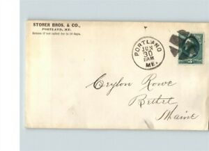 3 cent green stamp, Fancy cancel, PORTLAND, MAINE to Bethel, STORER BROS. & Co.