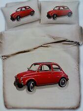 Copripiumino Matrimoniale Fiat 500 Vintage Rosso Prodotto Italiano Macchina