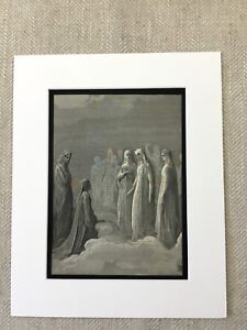 1870 Antique Print Victorian Angel Lady of Grace Dantes Paradiso Gustave Dore