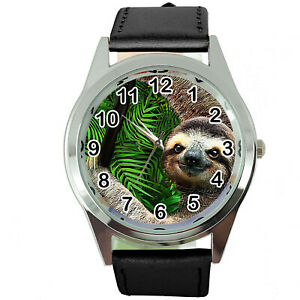 BLACK LEATHER ROUND DIAL Steel CD DVD GAME VIDEO MOVIE FILM WATCH FOR SLOTH FANS