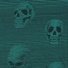 Alexander Henry Gothic Between the Lines Skulls Black & Teal Stripe Fabric - FQ