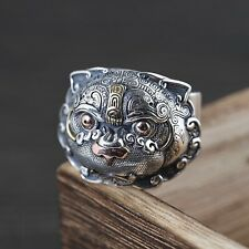 Solid 925 Sterling Silver Mens Heavy Ancient Mythical Lion Ring Size Adjustable