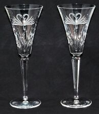 WATERFORD SWAN HEART TOASTING FLUTES (2)