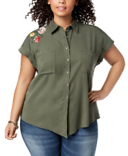 3x Style & Co Plus Size Embroidered Button-down Olive Green Shirt Top