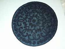 """BEADED ROUND PLACEMAT NAVY BLUE 15""""X15"""" NEW"""