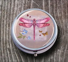 DRAGONFLY PINK INSECT #3 PILL BOX ROUND METAL -ksv8Z