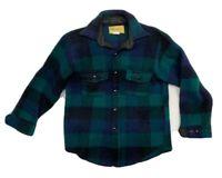 Vintage Melton Wool Blue Green Black Plaid Shirt Mens Size Medium