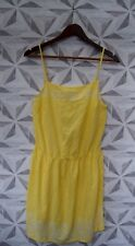 LADIES LEMON STRAPPY EMBROIDERED FLORAL SUMMER MINI DRESS - UK 12  HOLIDAY A18