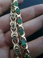 12 Ct Diamond Colombian Emerald Link Tennis Estate Bracelet 14k Yellow Gold Over