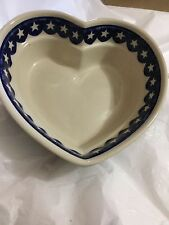 NEW Zaklady Boleslawiec Americana/Stars Pattern Heart-Shaped Bowl w/ Label -8.5""