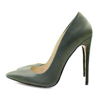 Fashion Women Ladies Pointed Toe High Heel Pumps Stiletto Army Green Slip On