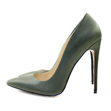 Shoes Women Pointed Toe High Heel Pumps Ladies Spring Stiletto Army Green Satin