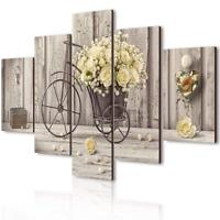Lupia Vogue - Composición de 5 cuadros de madera para pared, rosas amarillas, 66