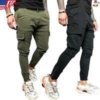 Men Cargo Combat Sweat Pants Skinny Casual Slim Fit Sport Pencil Jogger Trousers