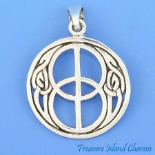 CELTIC MOTIF DOUBLE PEACE SIGN SYMBOL .925 Solid Sterling Silver Pendant