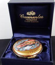 Rare Hand Painted Crummles English Enamel Musical Violin Box Brahms Lullaby