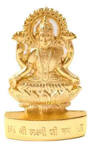 Laxmi Idol Lakshmi Murti Statue Om Hindu God Blessed Golden Color 6.5 cm Height