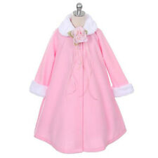 Pink Jacket Coat Fur Trim Fleece Winter Fall A-Line Style Flower Girl Dresses