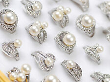 Wholesale Jewelry Lots 8pcs Girls Assorted Crystal Pearls Womens Wedding Rings