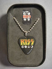 KISS CLASSIC LOGO GUITAR PICK NECKLACE WITH CASE DOG TAG ROCK AND ROLL