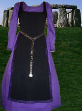 Medieval Costume Sca Garb Celtic Black Ctn Tabard Purple Cotton Kirtle L Xl