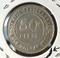 Old Collection>Straits  KGV 50cents1920 Silver coin high grade! lustre?? scare!