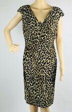 Lauren Ralph Lauren Dress 10 Brown Black Animal Print Sheath V Neck Stretch New