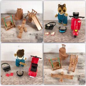 Vintage Maple Town Playground Set RARE Boxed Raccoon Figure Like Sylvanian
