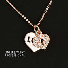 Sweet Hollow Crystal Love Heart Key Choker Pendant Necklace Rose Gold Jewelry