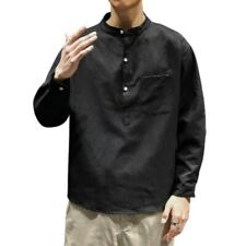 Japanese style Mens Long sleeve Stand collar Cotton T-Shirt Tops Blouses Plain L