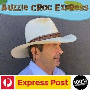 Hat Band Unisex - Brown Genuine Australian Saltwater Crocodile Leather