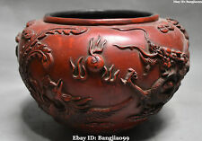 """10"""" Chinese Wood lacquerware Ancient Dragon Phoenix Crock Cylinder Statue"""