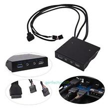 USB 3.0 2.0 Port HUB + HD Audio PC Floppy Expansion Front Panel Connector Black