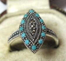 Gorgeous Vintage Art Deco Style Solid Sterling SILVER Marcasite Turquoise RING 7
