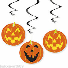 3 Haunted Halloween Pumpkin Cheer Party Hanging Swirls Decorations