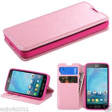 LG OPTIMUS L90 D415 WALLET FOLIO CASE W/ CARD SLOT FOLDED STAND COVER PINK